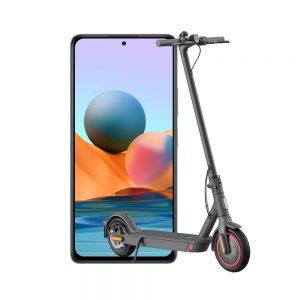 Xiaomi Redmi Note 10s in blue + Redmi Mi Electric Scooter